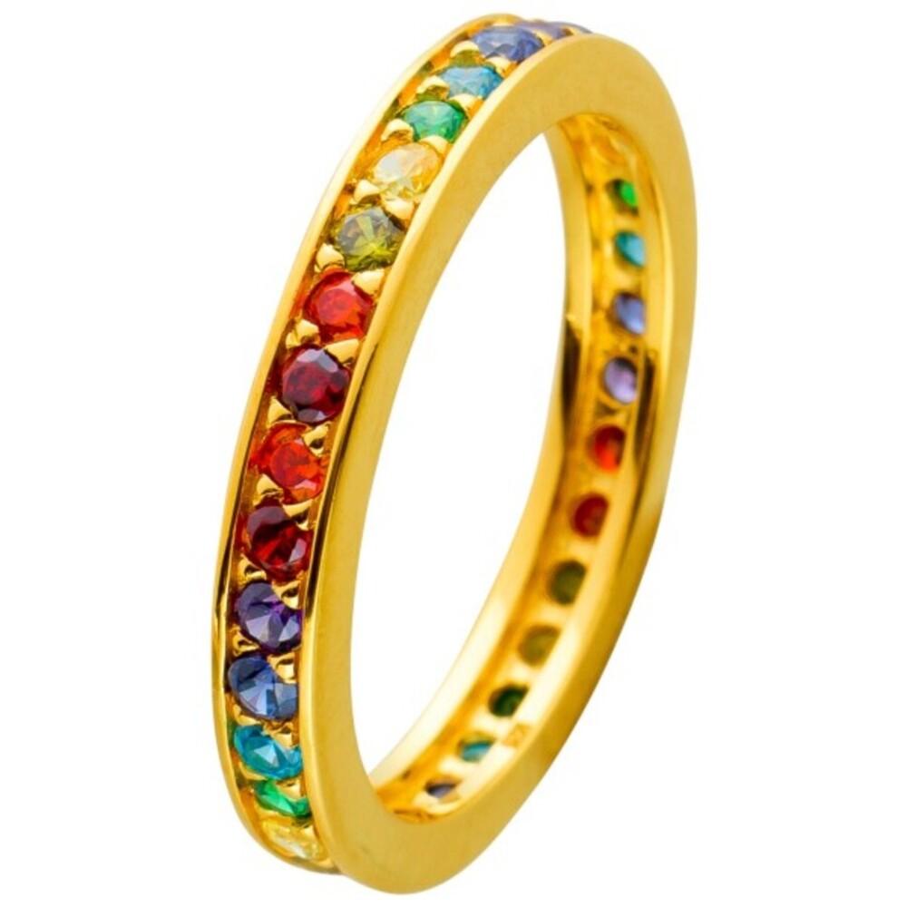 Ring Silber 925 Vergoldet Bunte Zirkonia Regenbogen Optik