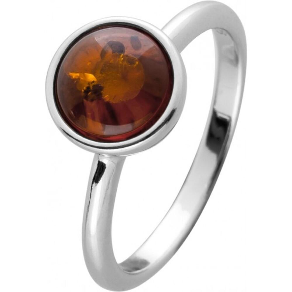 Bernstein Ring Silber 925 cognacfarbener brauner runder Edelstein Cabochon 17-20mm