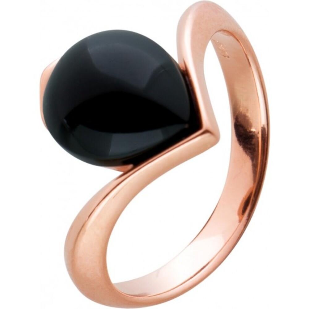 Onyx Edelstein Ring Silber 925 rose vergoldet schwarz Tropfen Cabochon 24x10mm
