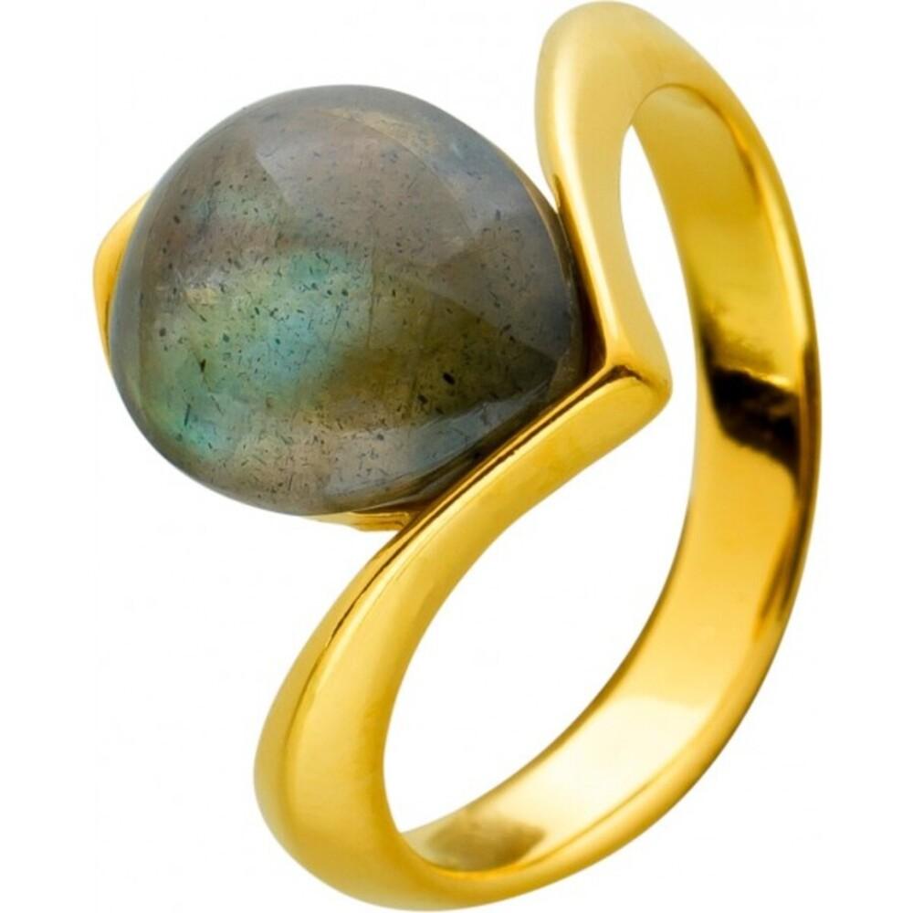 Labradorit Edelstein Ring Silber 925 gelb vergoldet grau grün Tropfen Cabochon 17-20mm