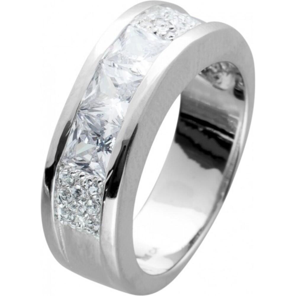 Ring Silber 925 Klare Zirkonia Pinzessinnenschliff Rundschliff