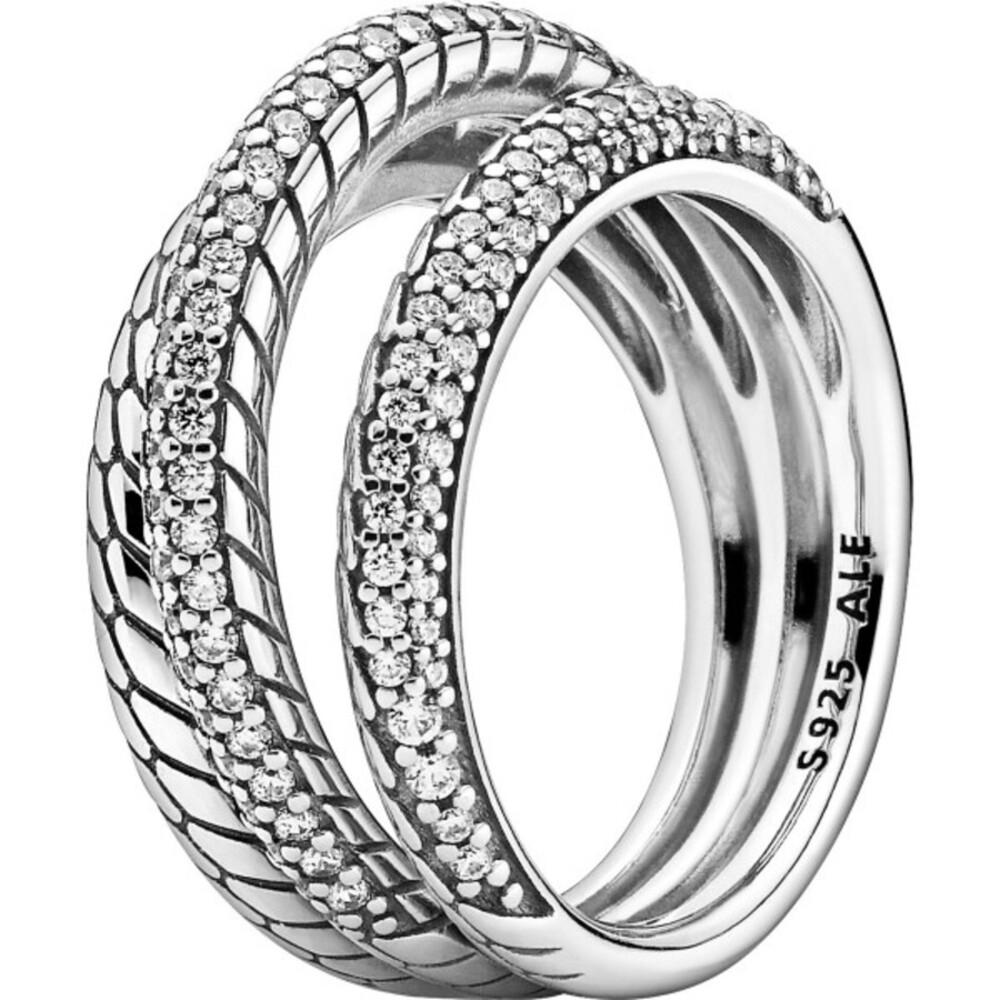 Pandora Icons Ring 199083C01 Snake Chain Pattern Silber 925 Klare Zirkonia Kein Vorsteckring