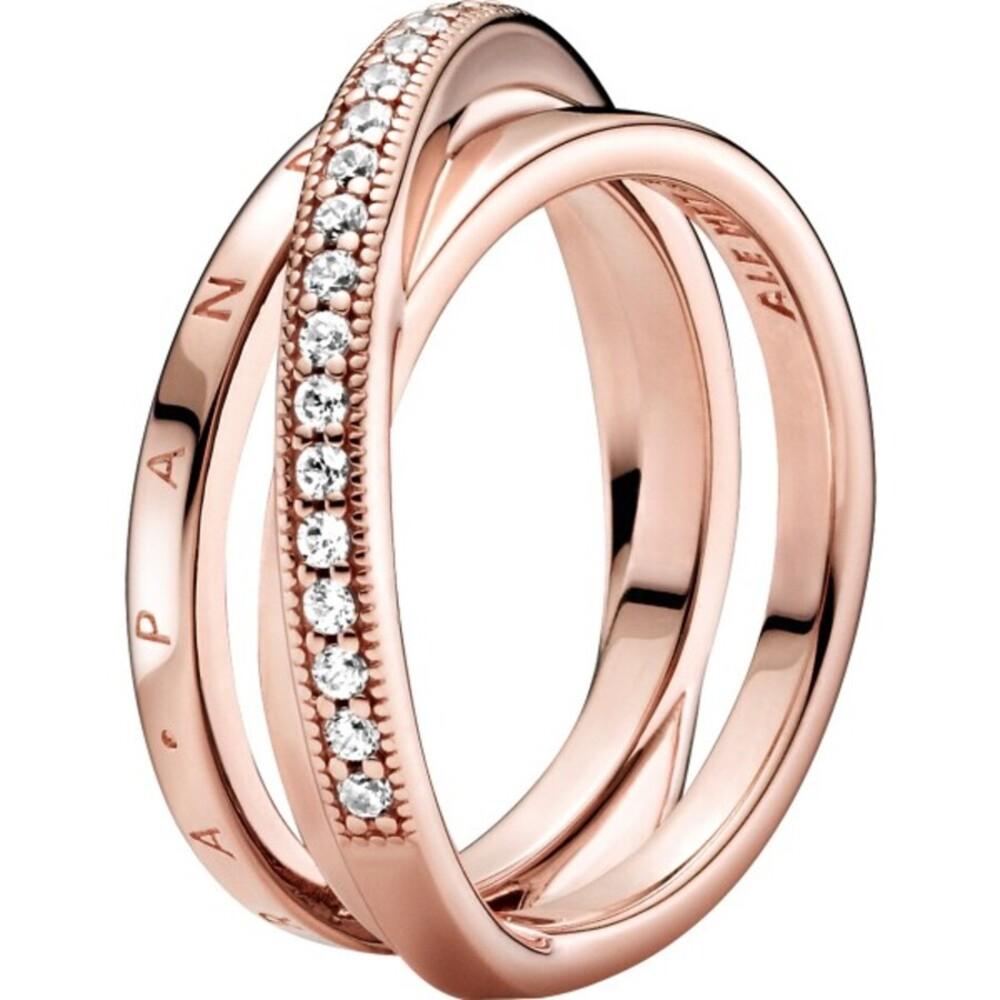 Pandora Ring 189057C01 Triple Band Crossover Rose