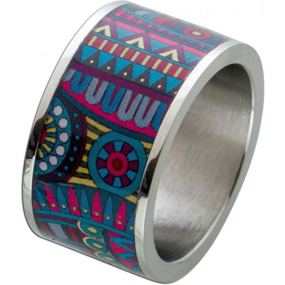 Ring Edelstahl mit lackiertem Pop Art Aufdruck Aufdruck T-Y, Br. 12mm, St. 2mm,17-20mm erhältlich