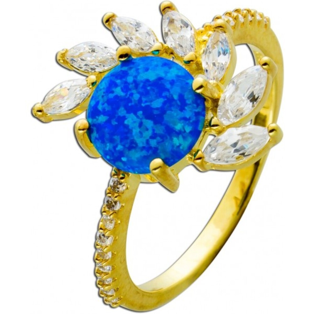 Ring Silber 925 vergoldet, mit einem synth. blauen Opal und 7 Navette Zirkonia, 20 runde Zirkonia