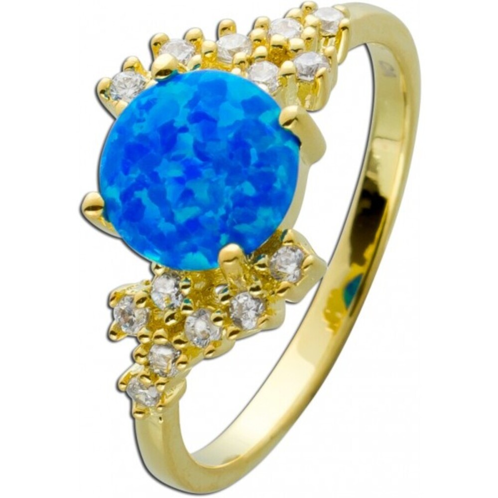 Ring Silber 925/- vergoldet,1 blauer synth. Opal, 14 weisse Zirkonia