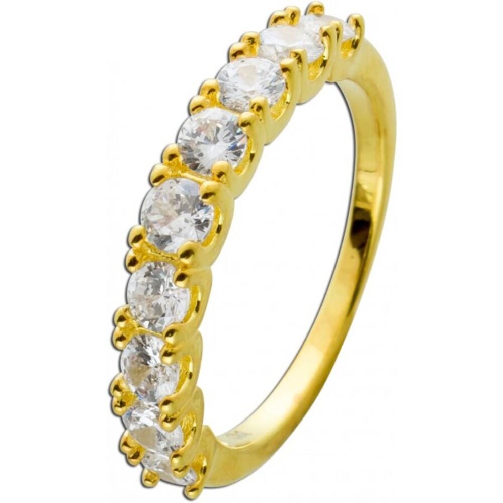 Memoire Ring Silber 925/-, vergoldet, 9 Zirkonia