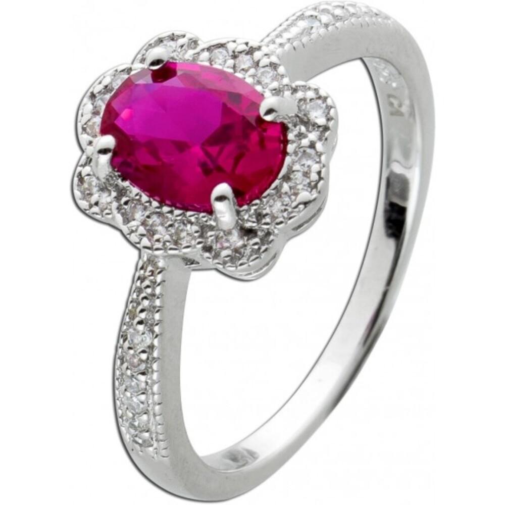 Ring Silber 925, 1 Ovaler Rubin, ca 25 Zirkonia