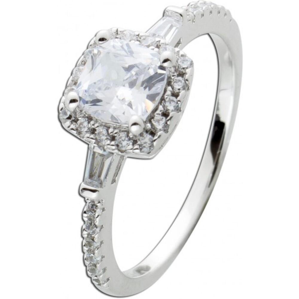 Ring Silber 925, 30 Zirkonia, 1 Zirkonia im Carree Schliff