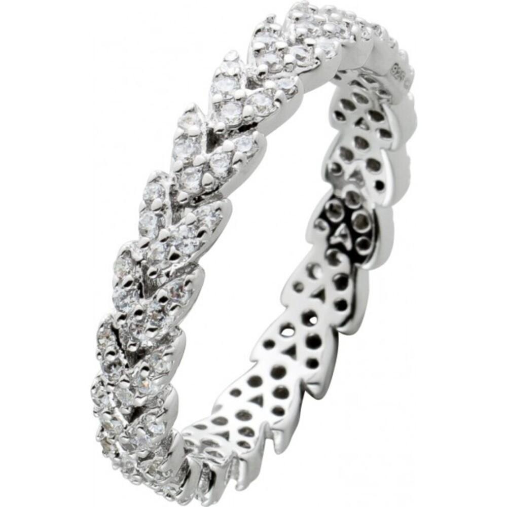 Memoire Alliance Ring Silber 925 mit cirka 80 Zirkonia Steinen