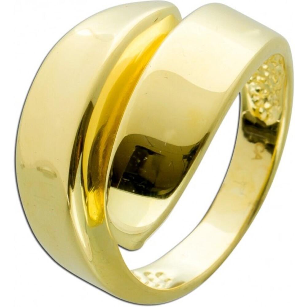Designer Ring Silber 925 vergoldet poliert