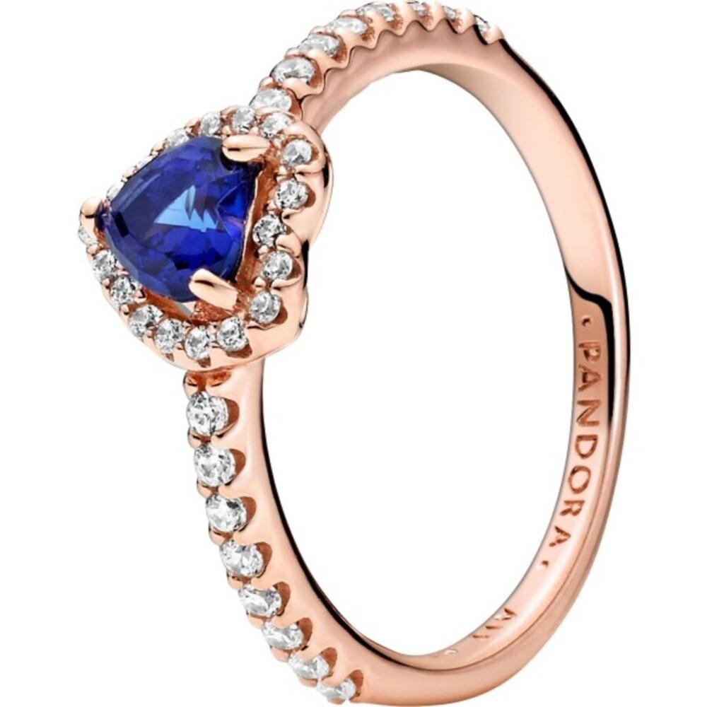 Pandora Ring 188421C01 Sparkling Heart Pandora Rose clear cubic zirconia twilightblue crystal 17-19mm