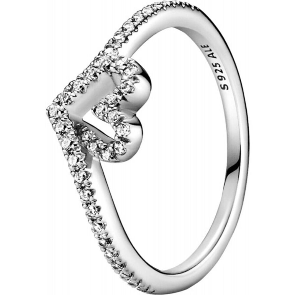 Pandora Wish Ring 199302C01 Sparkling Wishbone Heart Sterling Silber Klare Zirkonia Vorsteckring