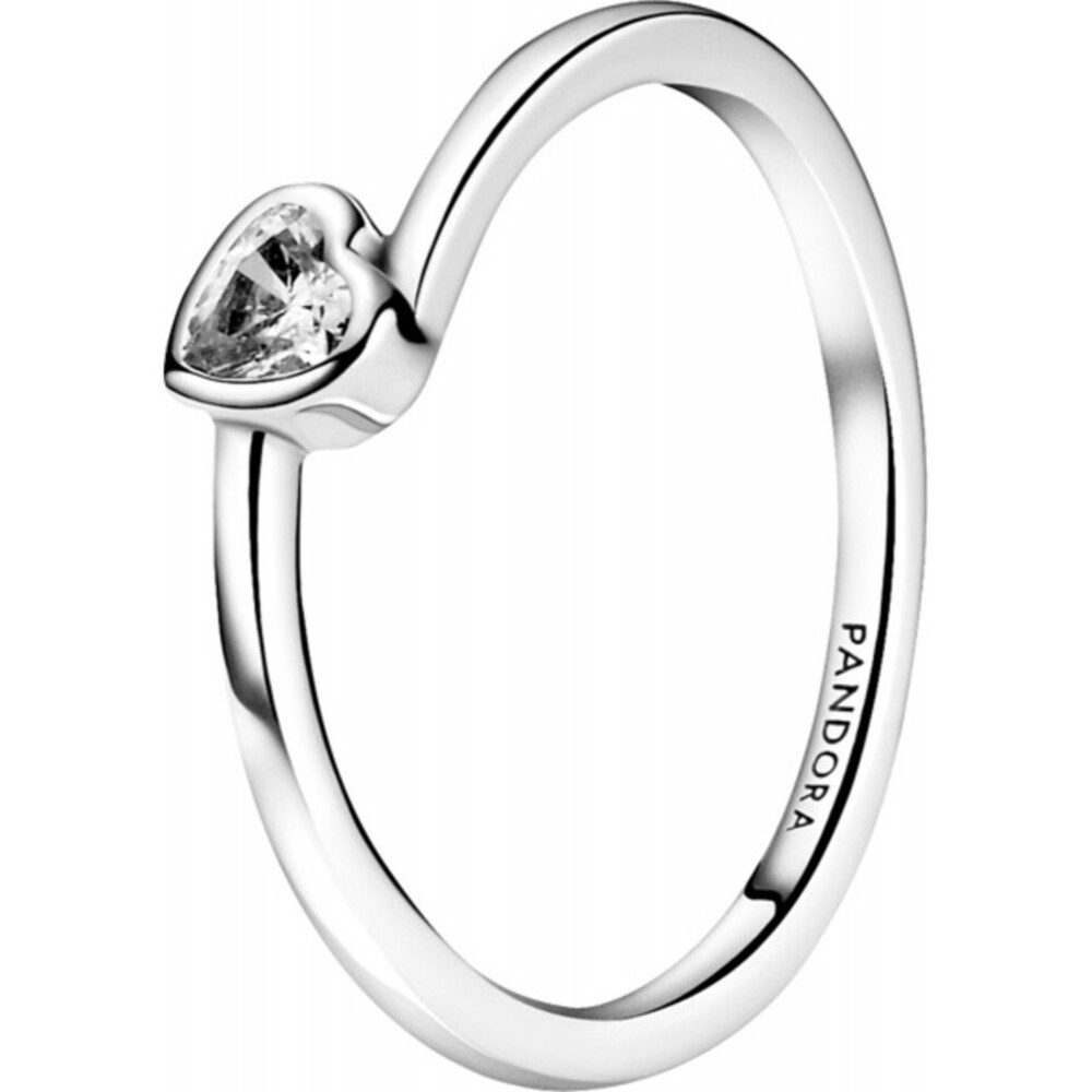 Pandora People Ring 199267C02 Clear Tilted Heart Solitaire Sterling Silber Klare Zirkonia Vorsteckring