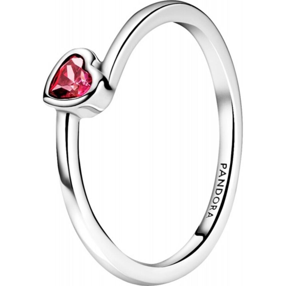 Pandora People Ring 199267C01 Red Tilted Heart Solitaire Sterling Silber Klare Zirkonia Vorsteckring