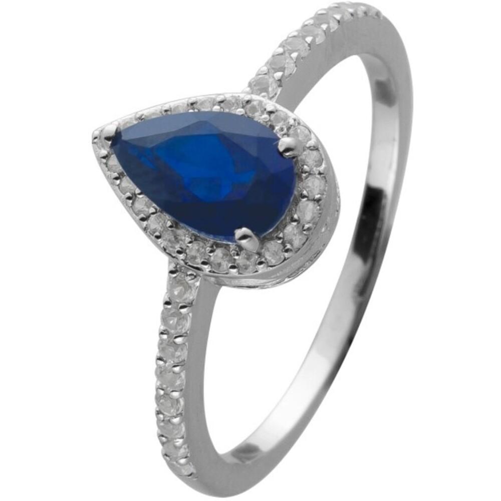 Ring Silber 925 mit blauen und weißen Saphir Edelsteinen