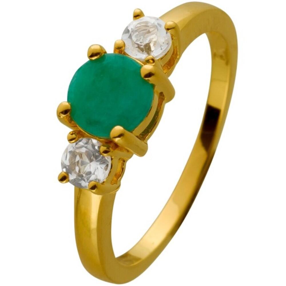 Ring Silber 925 vergoldet mit einem Smaragd und 2 Topas Edelsteinen