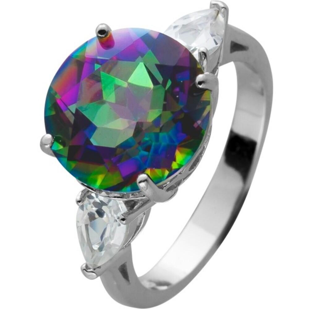 Ring Silber 925 mit einem Mystic Topas und 2 Saphir Edelsteine