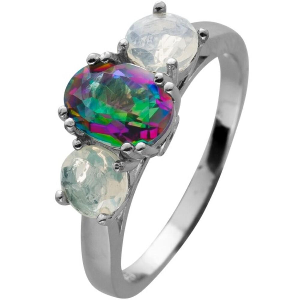 Ring Silber 925 mit einem Mystic Topas Edelstein 2 äthiopische Opale und 2 Topase