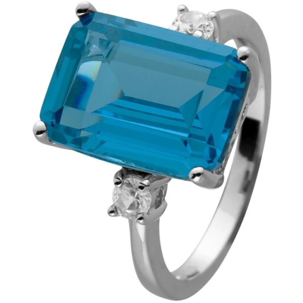 Ring Silber 925 mit einem London Blue Topas und 2 weißen Saphir Edelsteinen