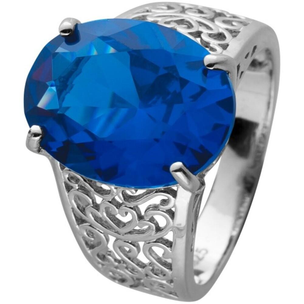 Ring Silber 925 mit einem blauen Zirkonia verspielte Ringschiene mit Öffnungen