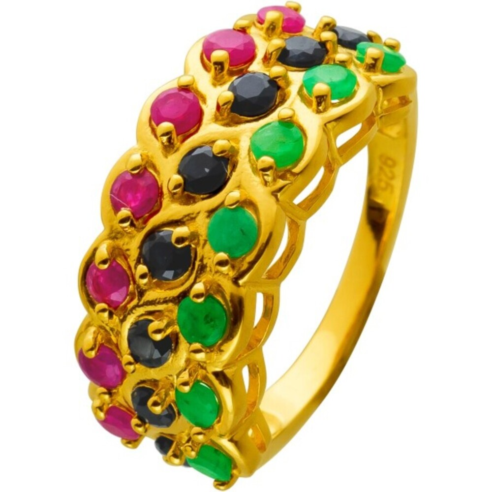 Ring Silber 925 vergoldet mit echten Smaragd Saphir und Rubin Edelsteinen