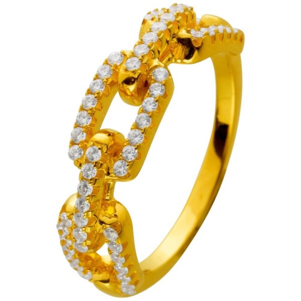 Ring Silber 925 vergoldet Kettenglieder Optik mit Zirkonia Cuban Link Chain Design