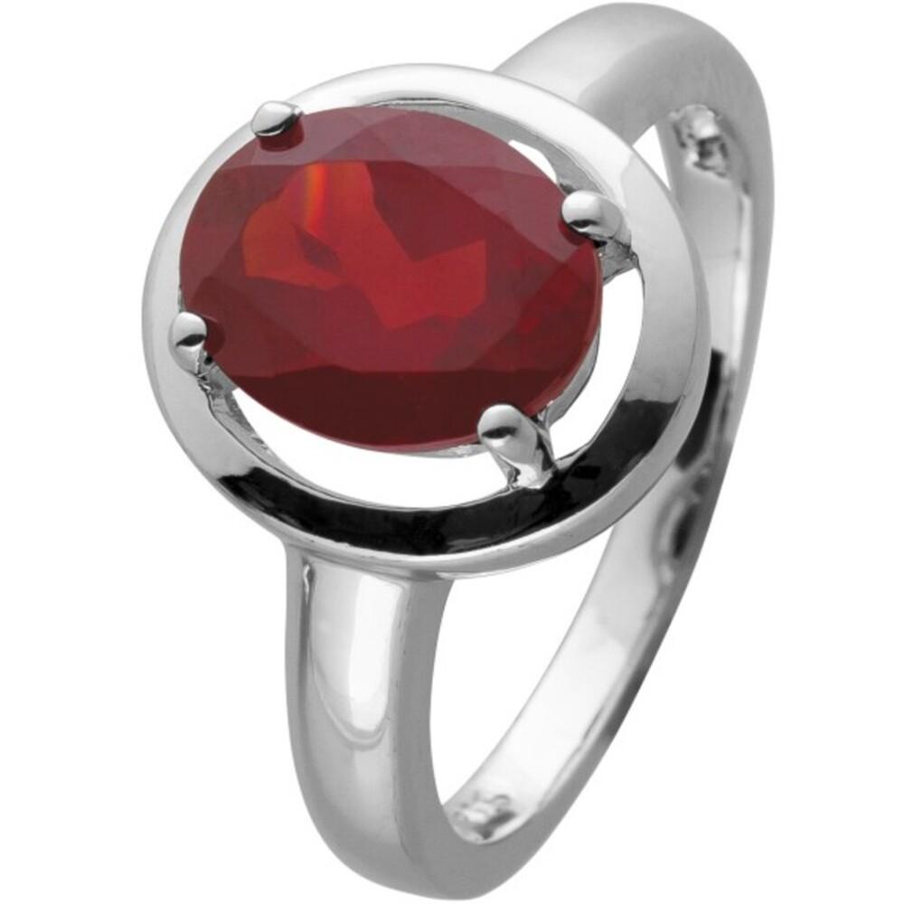 Ring Silber 925 mit einem roten Granat Edelstein cirka 3 ct