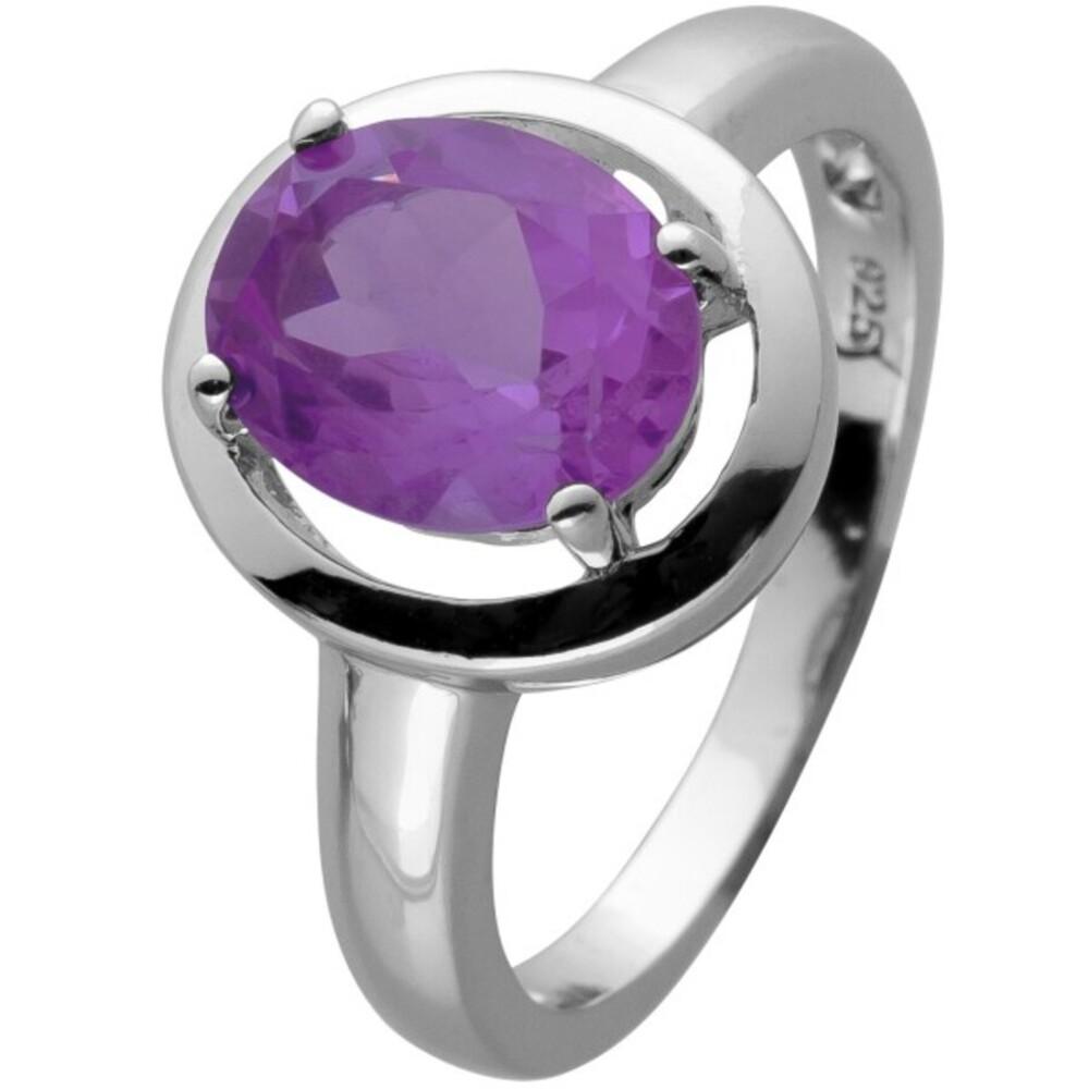 Ring Silber 925 mit einem echten lila Amethyst cirka 3ct