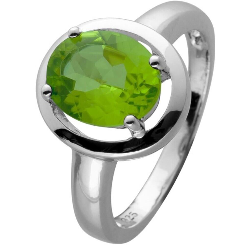 Ring Silber 925 mit einem grünen Peridot Edelstein Cirka 3ct