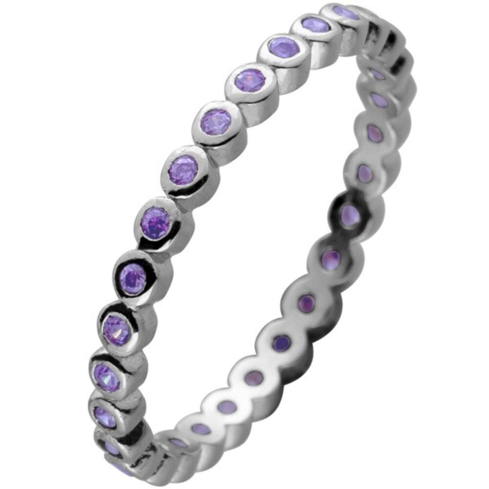 Memoire Alliance Ring Silber 925 mit cirka 28 lila Zirkonia