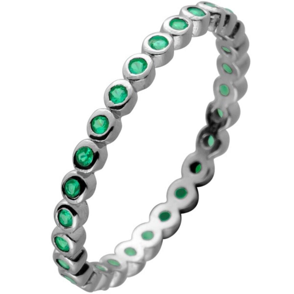 Memoire Alliance Ring Silber 925 mit 28 Smaragd grün farbenen Zirkonia