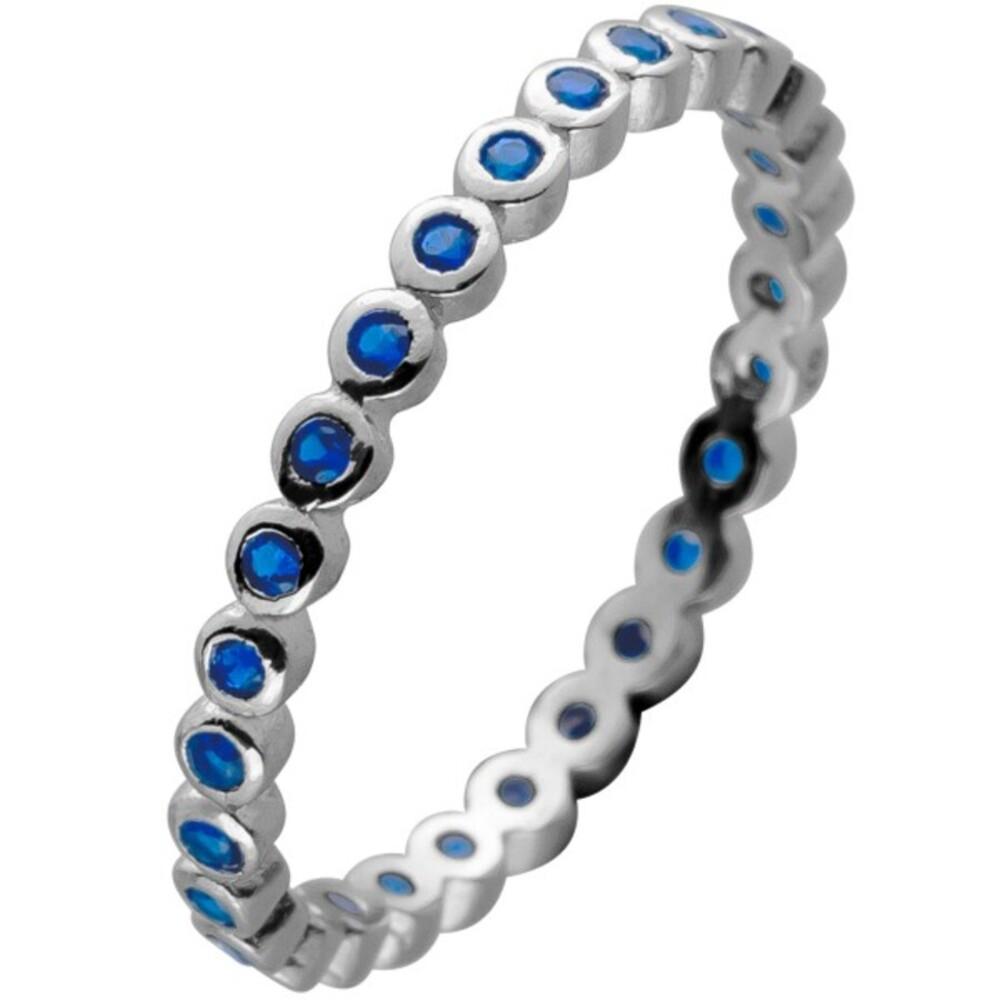 Memoire Alliance Ring Silber 925 mit 28 Saphir blau farbenen Zirkonia Steinen