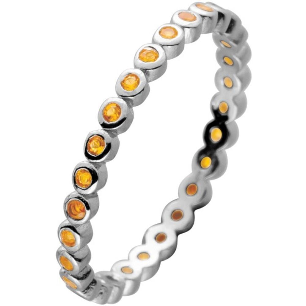 Memoire Alliance Ring Silber 925 mit 28 Citrin farbenen Zirkonia
