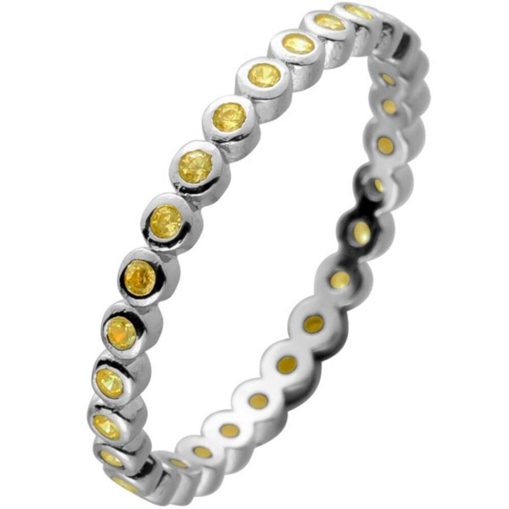 Memoire Alliance Ring Silber 925 mit 28 Zitronen gelb farbenen Zirkonia