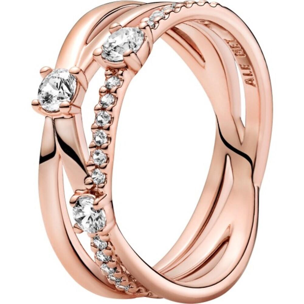 Pandora Timeless Ring 189400C01 Sparkling Triple Band Ring Rose Metall Klare Zirkonia
