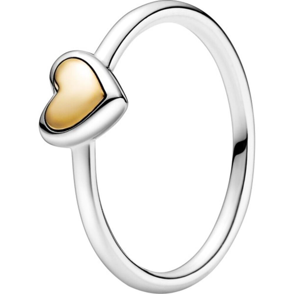 Pandora Moments Ring 199396C00 Domed Golden Heart Silber 925 Gold 14 Karat