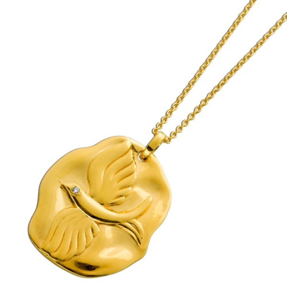 Anker Kette Taube Zirkonia weiß Silber 925 vergoldet Anhänger massiv 1