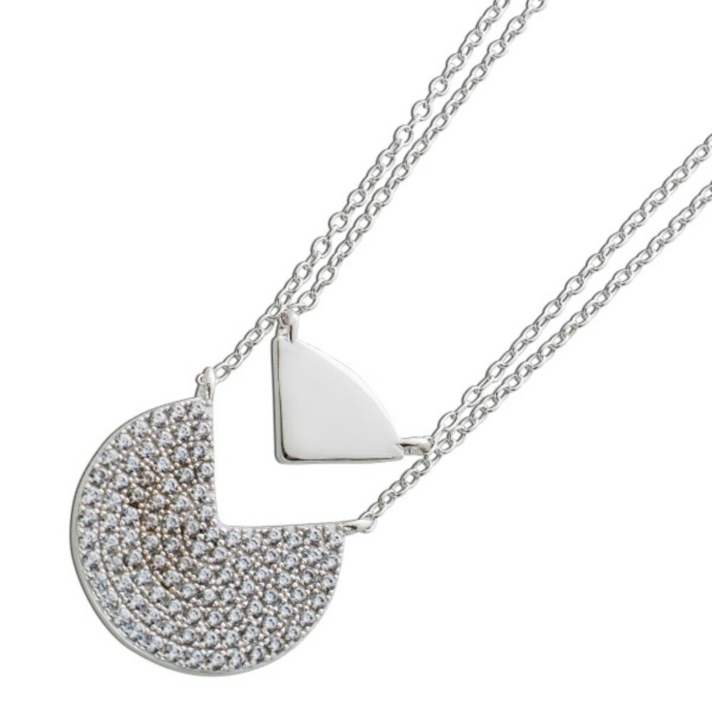 Anker Layering Kette 2-reihig Zirkonia weiß Silber 925 Damenkette 1