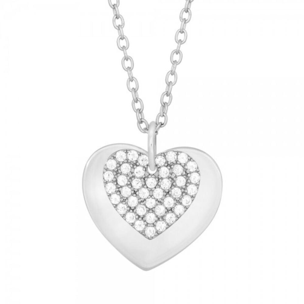 JOANLI NOR Halskette DIANOR 245 111 Herzkette Silberkette Silber rhodiniert, 42+3cm