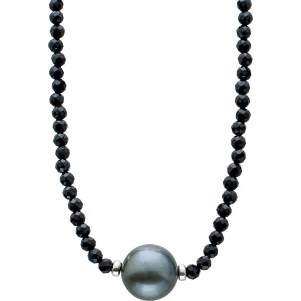 Facettierte schwarzer Spinell Edelstein Kette Collier Tahitiperle 10mm Silber Federringverschluss 925 38+7cm