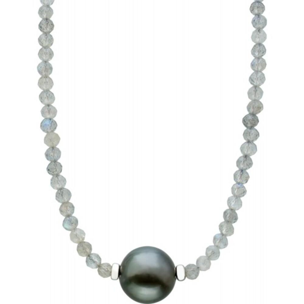 Facettierte weisse Mondstein Edelstein Kette Collier Tahitiperle 10mm Silber Federringverschluss 925 38+7cm