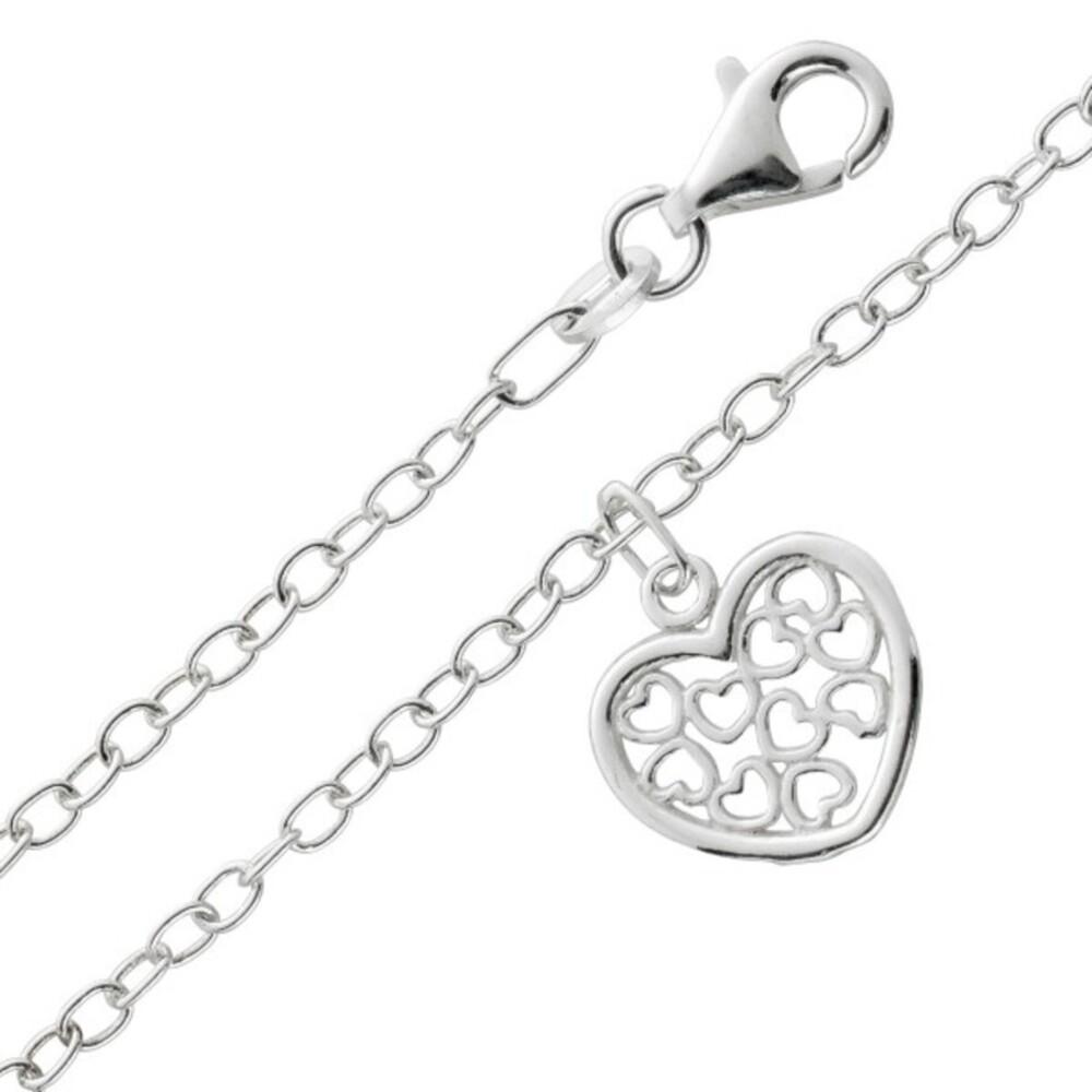 Fußkettchen Herz Fußkette Silber 925/- Ankerkette 2,4mm Herz Anhänger 25cm