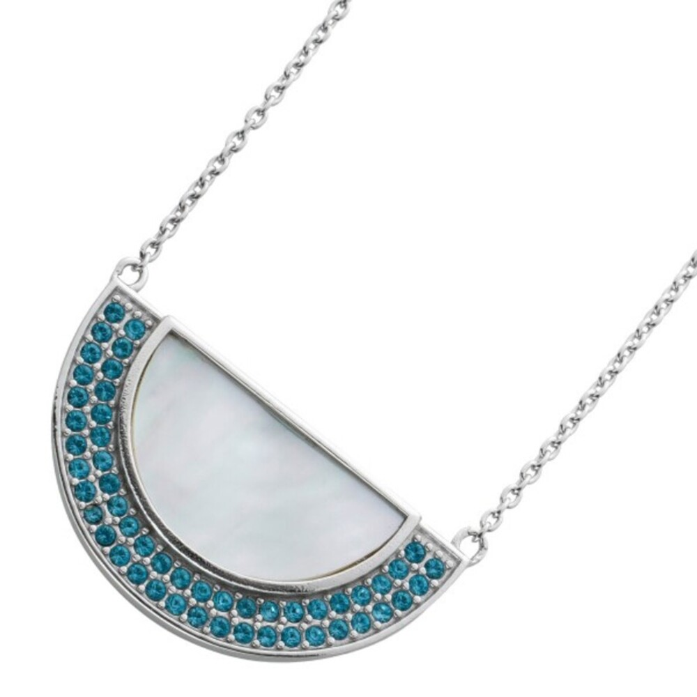 Ankerkette weißen Perlmut Silber 925 blauen Aquamarin Steinen  1
