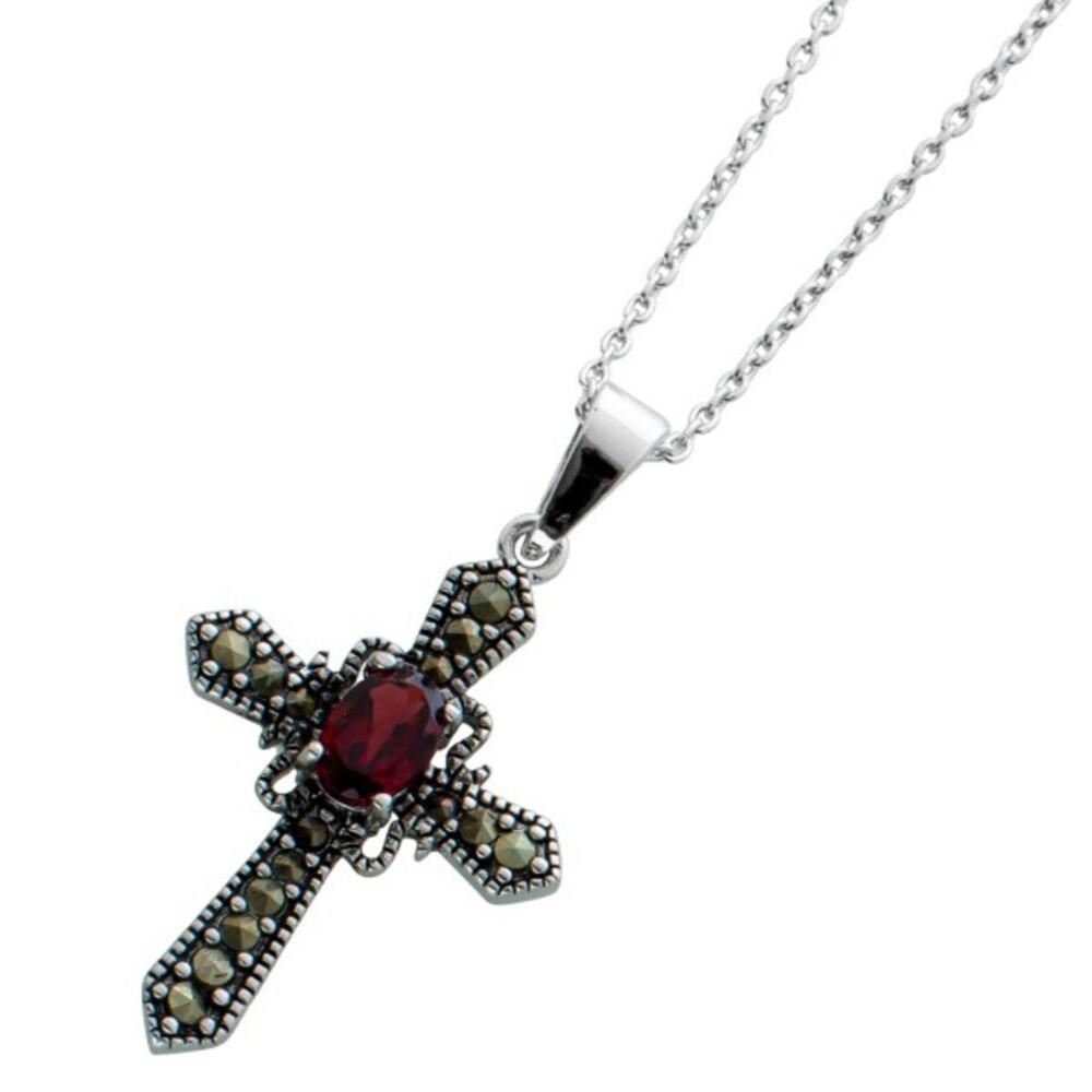 Kreuzkette roten Granat Silber 925 Markasit Steinen Edelsteinschmuck 1