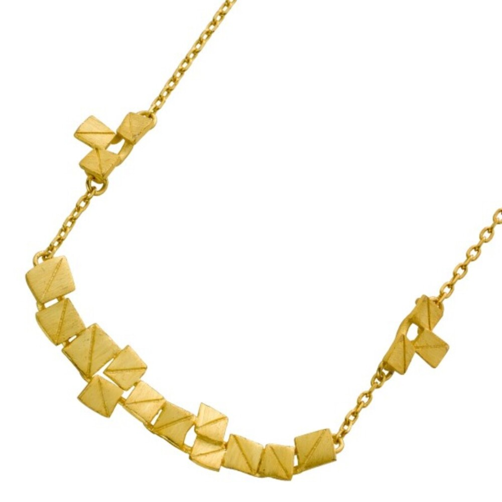 VIVIEN LEE Designerkette  Lapponia Look Edelstahl vergoldet teilsweise mattiert Ankerkette Collier 45+5cm_0