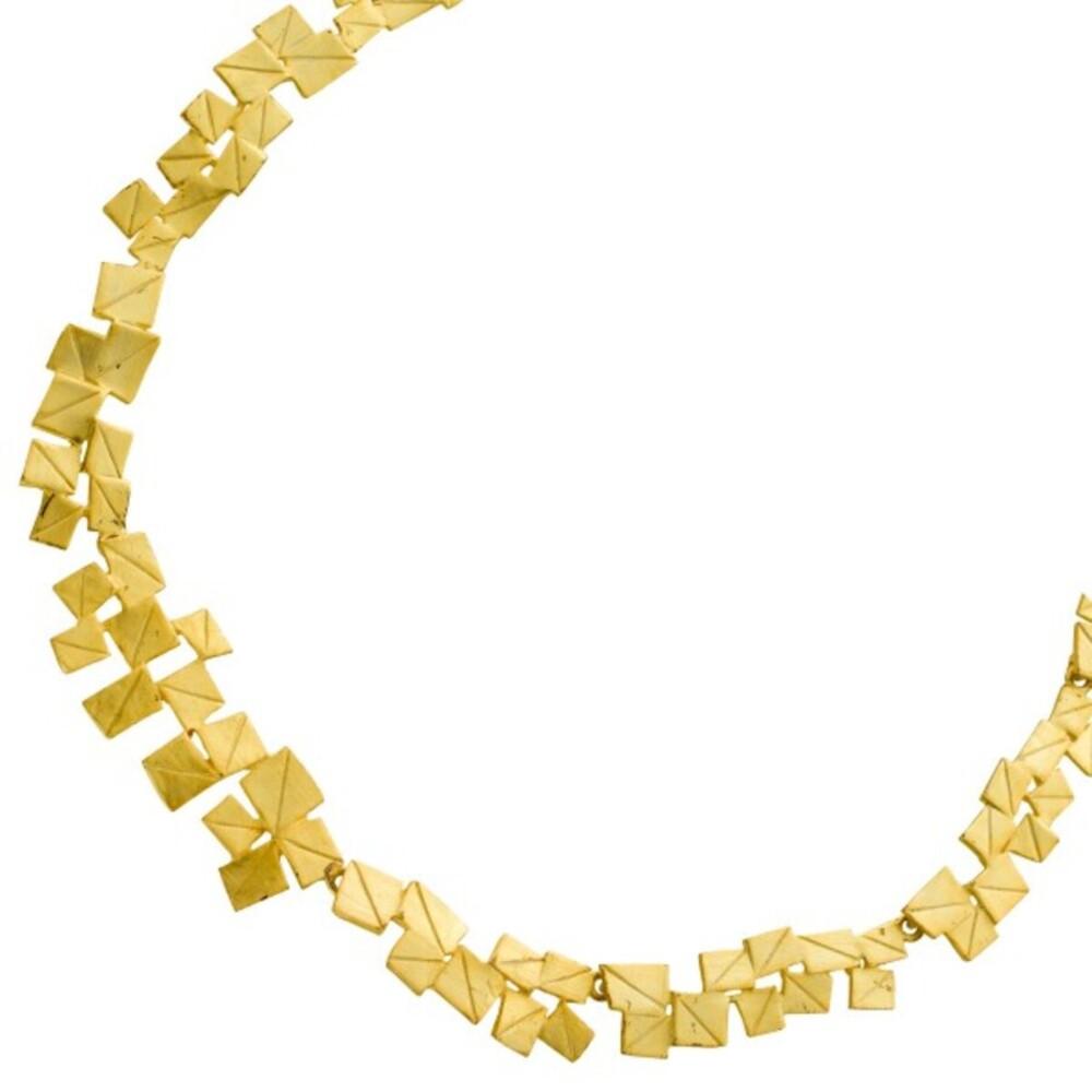 Lapponia Halskette Collier Edelstahl vergoldet mattiert 40+5cm_0