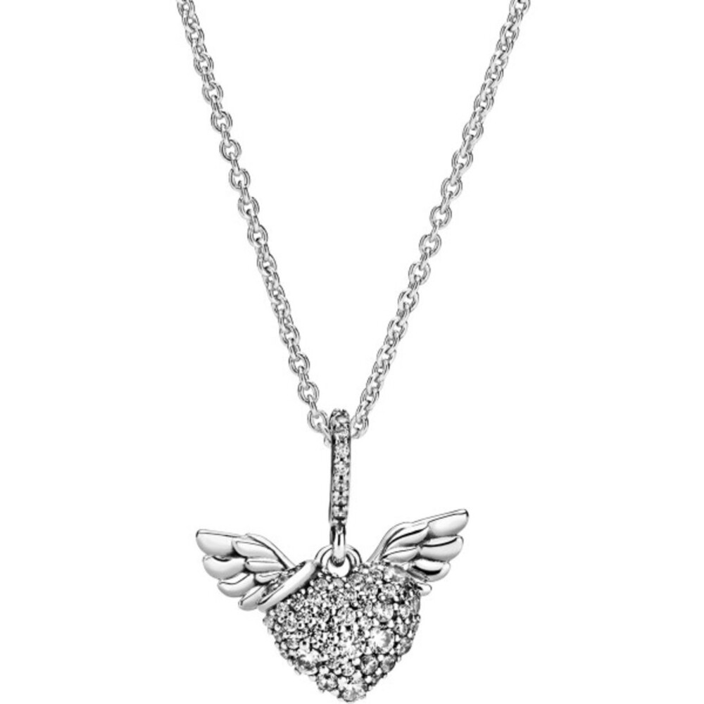 Pandora Halskette 398505C01 Pave Heart and Angel Wings