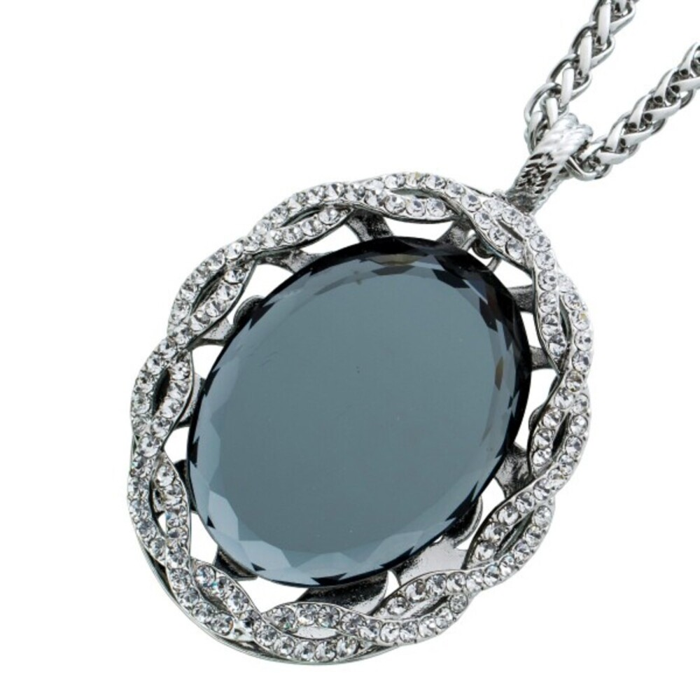 Modische Kette aus Metallvon Crystal Blue mit funkelnden Kristalle und einemgrossen beweglichen Glasstein, Anhänger 66x45mm, 80cm