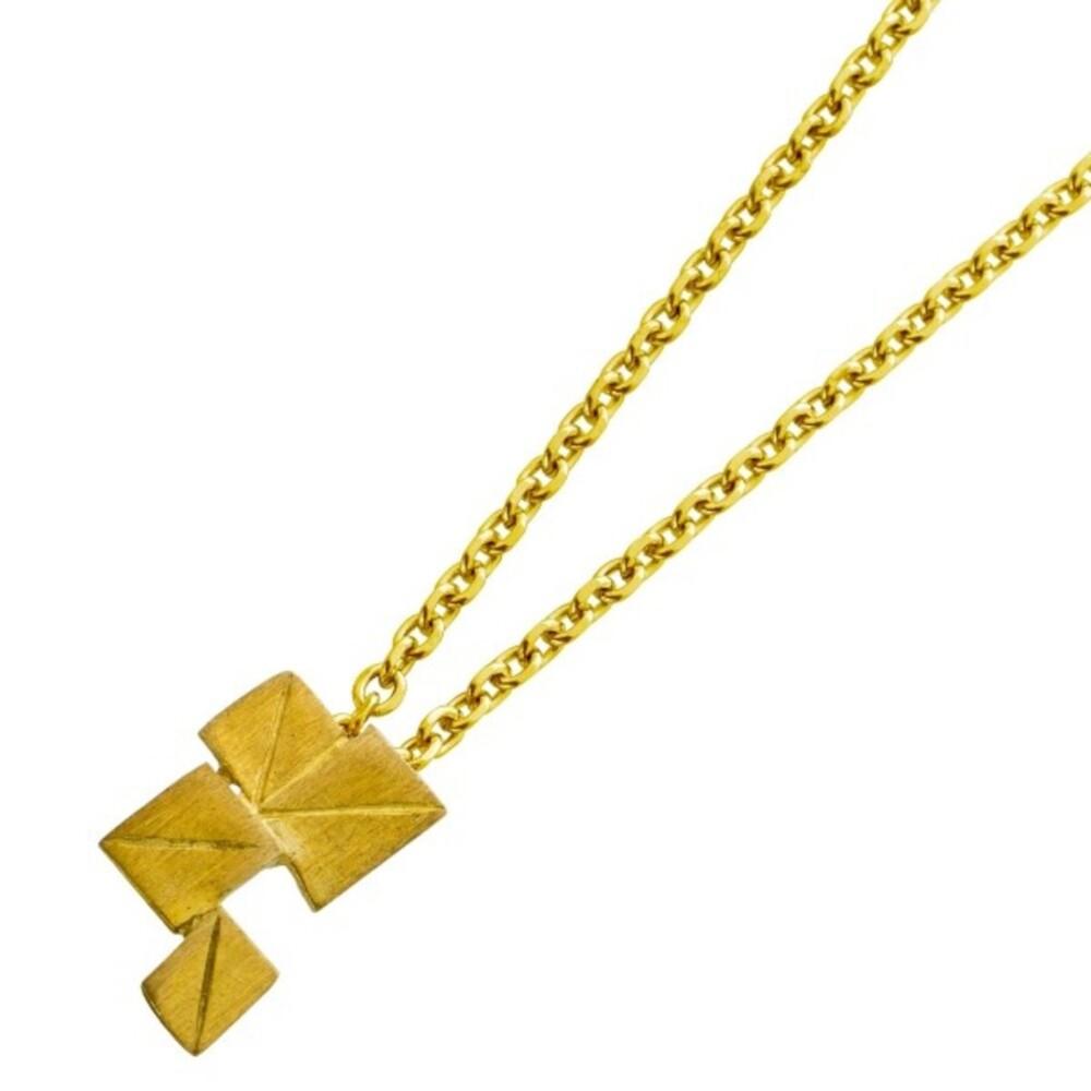 VIVIEN LEE Designerkette Lapponia Look Halskette Collier Edelstahl vergoldet mattiert Ankerkette 40+7cm